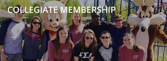 Collegiate ESA members from Florida State University pose with charters at a trip to an amusement park.